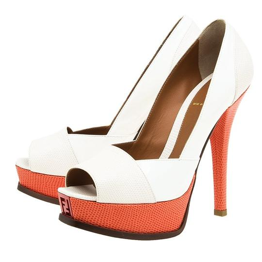 Fendi Two-tone Leather Peep Toe Platform Multicolor Pumps Image 4