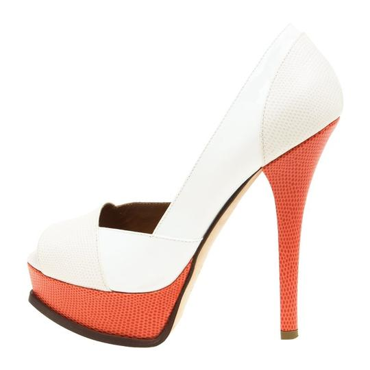 Fendi Two-tone Leather Peep Toe Platform Multicolor Pumps Image 5