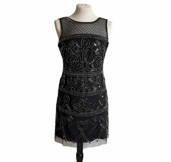 Item - Black Mesh A-line Beaded Cocktail Short Night Out Dress Size 6 (S)