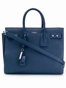 Saint Laurent Sdj Small Sdj Sac De Jour Sdj Sdj Navy Tote in Blue Denim