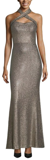 Item - Gold Women's Sequined Crisscross Halter Formal Gown Long Night Out Dress Size 12 (L)