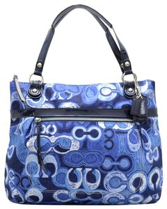 Coach Shoulder Xl Extra Large Fabric Glam Tote in Denim Blue