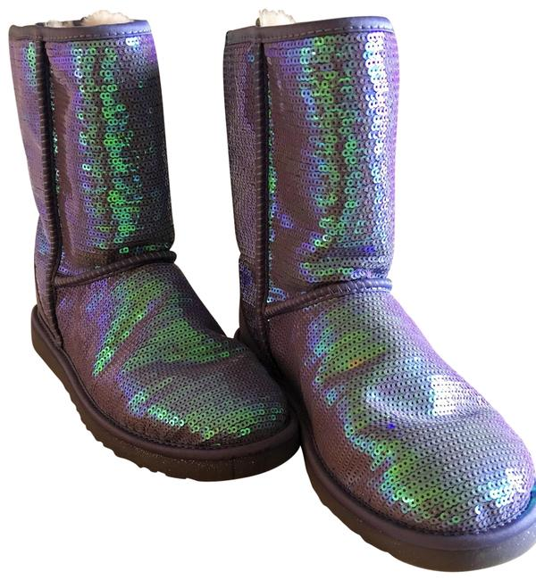 Item - Sparkly Blue/Violet Classic Short Boots/Booties Size US 10 Regular (M, B)