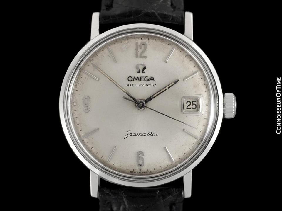 Omega Silver 1960\u0027s Seamaster Vintage Mens Cal. 560 Stainless Steel Au Watch