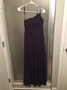 Alfred Angelo Plum Chiffon Embellished One Shoulder A-line Formal Bridesmaid/Mob Dress Size 4 (S)