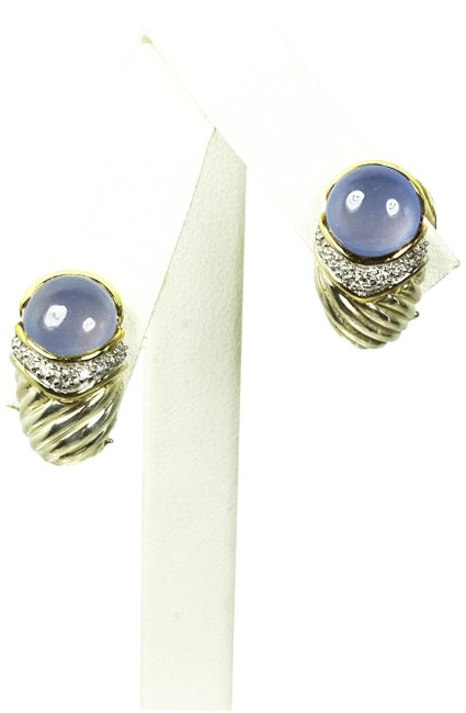 Item - Blue 18k Yellow Gold Ss Pave Diamonds Chalcedony Earrings