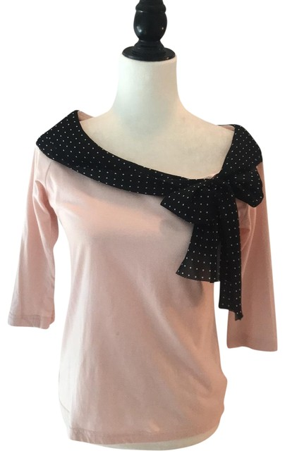 Item - Pink with Black Polka Dot Bow Trim Odille Blouse Size 8 (M)