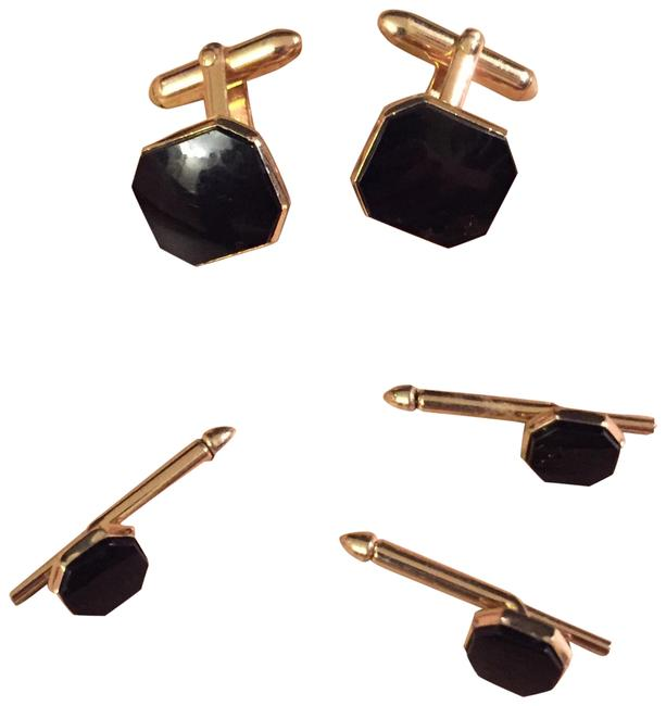 Item - Gold & Black Vintage Tone Mens Onyx Cufflinks 3 Studs Tuxedo Set