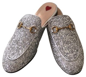 Gucci Leather Textured Silver Glitter Mules