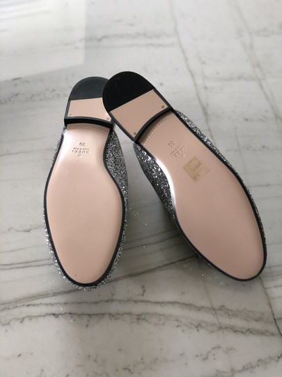Gucci Leather Textured Silver Glitter Mules Image 1