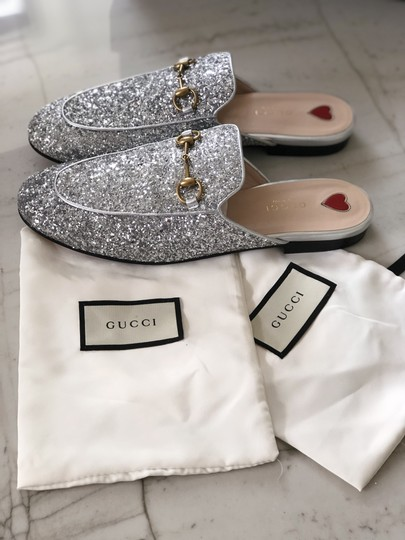 Gucci Leather Textured Silver Glitter Mules Image 4