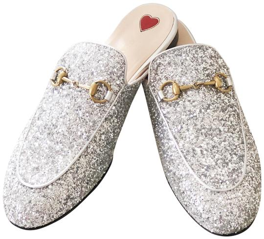 Gucci Leather Textured Silver Glitter Mules Image 5