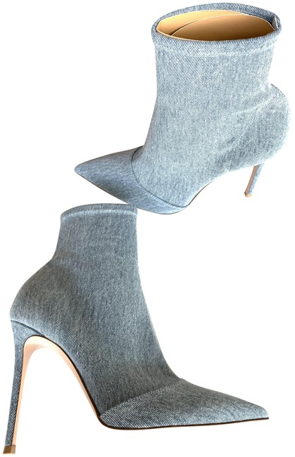 Item - Blue Denim Stretch Sock Pull On Washed Boots/Booties Size EU 40 (Approx. US 10) Regular (M, B)