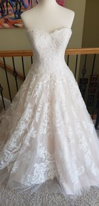 Allure Bridals Ivory/Blush 9217 Formal Wedding Dress Size 8 (M)