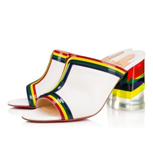Christian Louboutin Red Bottom Leather Summer Rainbow Mule White Sandals