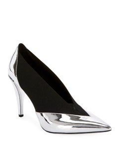 Givenchy Metallic Black Leather Stretchy Party Silver Pumps