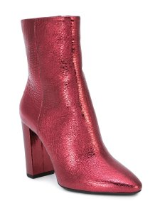 Saint Laurent Metallic Ysl Leather Bordeaux Red Boots