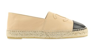 Chanel Lambskin Leather Espadrille Beige Flats