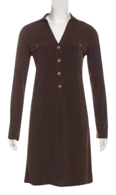 Item - Brown Midi Long/ Mid Sleeve Mid-length Short Casual Dress Size 14 (L)