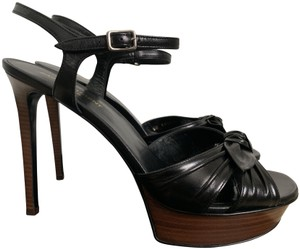 Saint Laurent Ankle Strap Tribute Leather Black Platforms