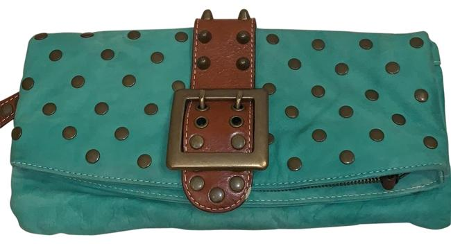 Item - Folded Teal Brown and Bronze Suede Leather Clutch