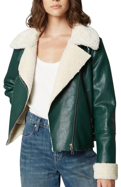 """Item - Green """"Out Of The Woods"""" Sherpa Biker Jacket Size 6 (S)"""