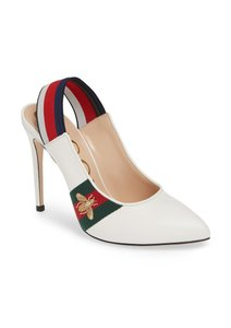 Gucci Marmont Mule Ribbon Leather Web White Pumps
