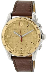 Victorinox Victorinox Swiss Army Men's Chrono Classic Stainless Steel & Leather-Strap Chronograph Watch - Champagne