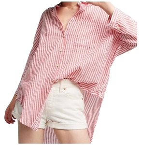 Anthropologie Button Down Shirt red and white