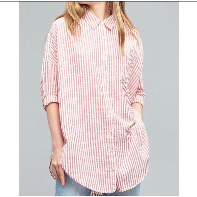 Anthropologie Button Down Shirt red and white Image 2