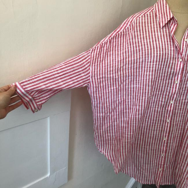 Anthropologie Button Down Shirt red and white Image 8