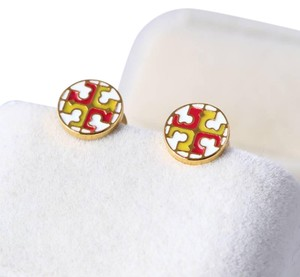 Tory Burch Tory Burch Yellow Red on White Gold E923 Logo Stud Earrings on Card
