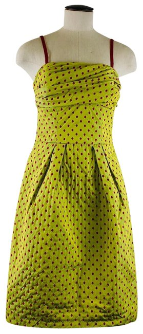 Item - Chartreuse Green Embroidered Tank Mid-length Work/Office Dress Size 6 (S)