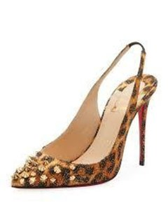 Christian Louboutin Sling Spike Drama Studded Panther Brown/Black/Gold Pumps