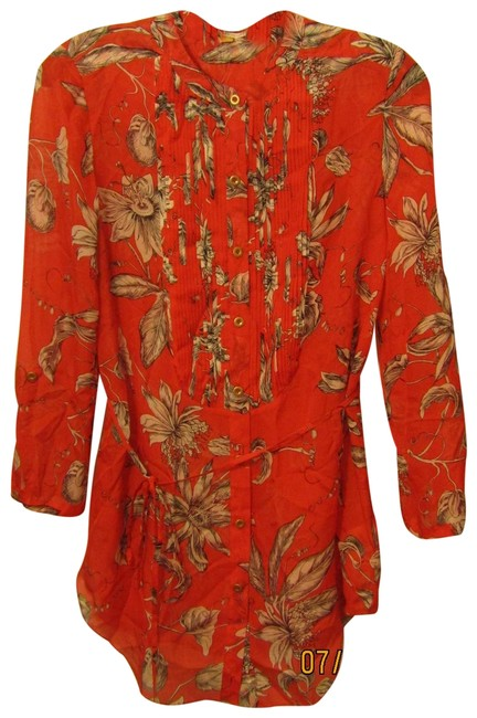 Item - Red Printed Tunic Silk Blouse Size 0 (XS)