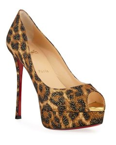 Christian Louboutin Heels Fetish Peep Toe Leopard Black/Gold/Brown Platforms