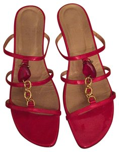Stuart Weitzman Patent Leather Stone Red Sandals