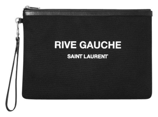 Preload https://img-static.tradesy.com/item/25759797/saint-laurent-logo-printed-leather-trimmed-canvas-wristlet-pouch-clutch-0-1-540-540.jpg