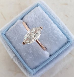 Rose Gold Marquise Diamond 1.25 Carat Oval Shape 14k Engagement Ring