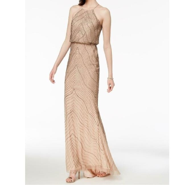 Item - Beige Polyester Beaded Blouson Bodice Long Gown Formal Bridesmaid/Mob Dress Size Petite 10 (M)