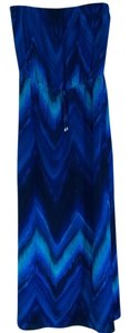 Chevron Pattern in Shades of Blue Maxi Dress by Single