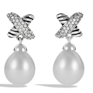David Yurman David Yurman Diamond Pearl X earrings