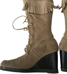 Farylrobin Suede Fringe Wedge Lace-up Tan Boots