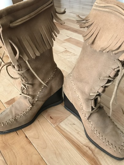 Farylrobin Suede Fringe Wedge Lace-up Tan Boots Image 2