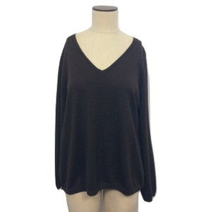 Kate Hill V-neck Wool Longsleeve Hi Lo Sweater