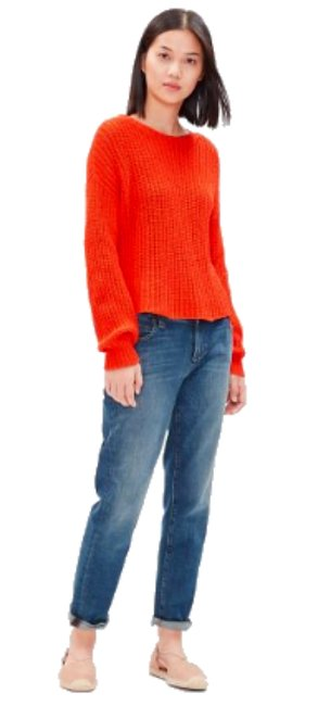 Eileen Fisher Jewel Neck Organic Cotton Boxy Dropped Shoulders Textured Knit Sweater Image 1