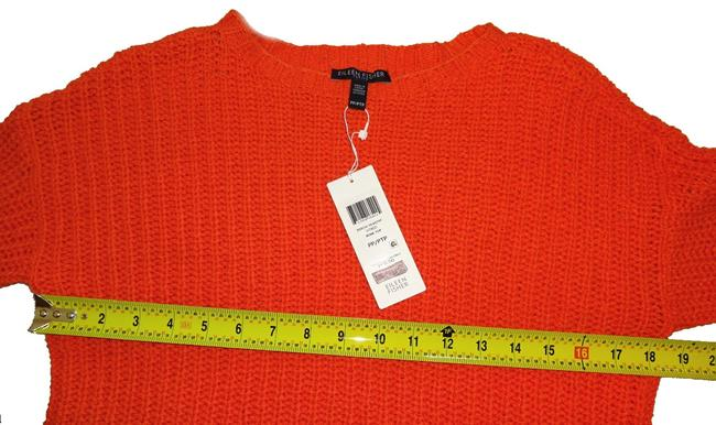 Eileen Fisher Jewel Neck Organic Cotton Boxy Dropped Shoulders Textured Knit Sweater Image 3