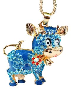 other Crystal Cow Charm Long Necklace