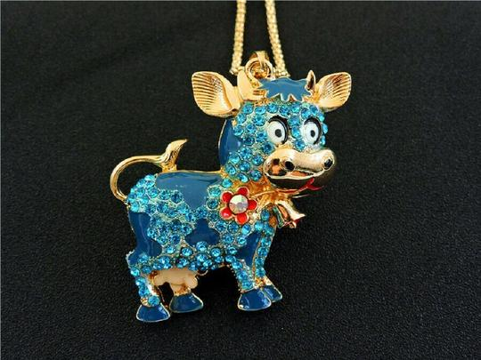 other Crystal Cow Charm Long Necklace Image 2