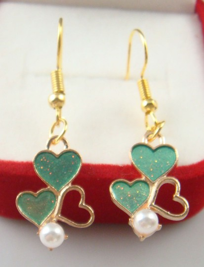 Other Glitter Heart Hand Painted Dangle Earrings Image 1